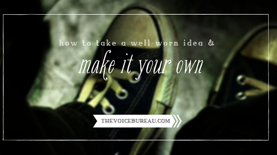 """Photo of black worn-in Chuck Taylor shoes with the headline """"How to take a well-worn idea & make it your own"""""""