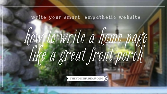 how to write a home page like a great front porch